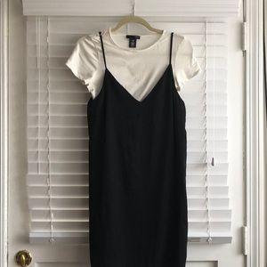 Aqua Slip Dress over White Tee